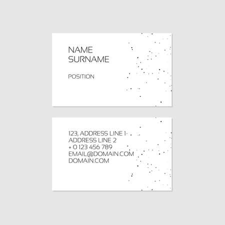 Sophisticated minimal black and white business card template with grainy texture Illustration