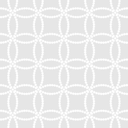 Abstract monochrome seamless pattern in Asian style with white overlapping dotted circles on light grey background
