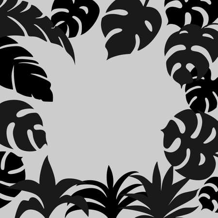 Monochrome background with hand-drawn tropical leaves silhouettes and copyspace