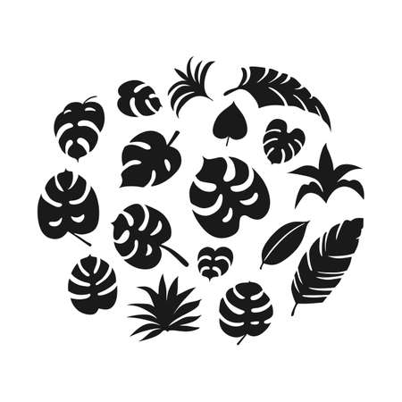 Set of hand-drawn tropical leaves cliparts on white background