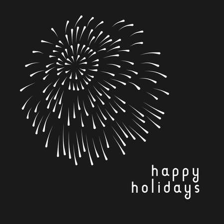 Minimal greeting card with fireworks in black and white