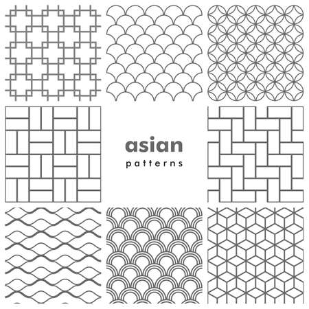 Set of asian patterns in black and white 일러스트