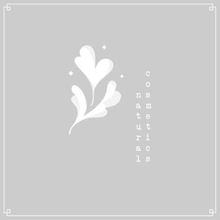 Floral logo for natural concept design. White dainty flower motif isolated on light gray background with minimalistic frame