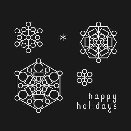 Christmas and New Year greeting card with line art snowflakes in black ad white