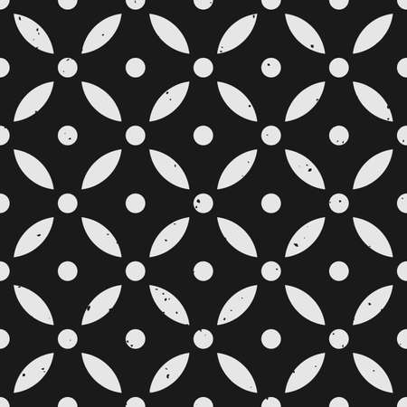 Abstract geometric seamless pattern with dots and petal shapes and removable grungy texture in black and white