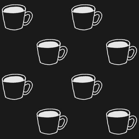 Coffee mugs in hand drawn style. Coffee or tea cups seamless pattern in black and white 일러스트