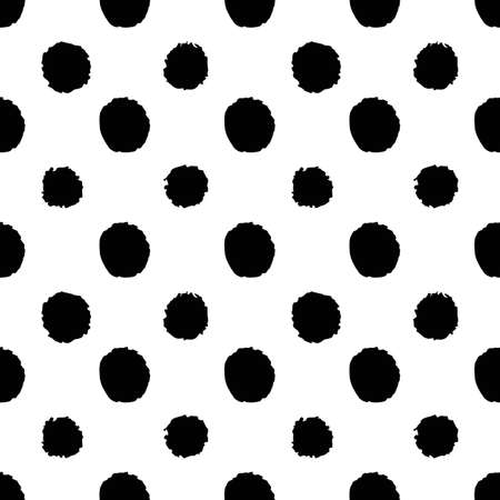 Abstract seamless pattern in hand drawn style with black dots on white background 일러스트