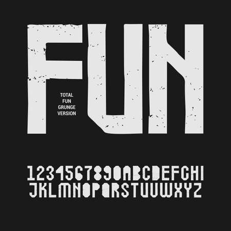 Grunge textured sans serif stencil font in uppercase. Display stamp typeface (alphabet letters and digits)