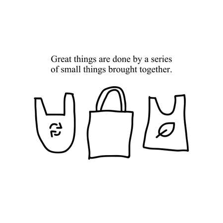 A set of hand-drawn reusable eco-friendly shopping bags with a quote