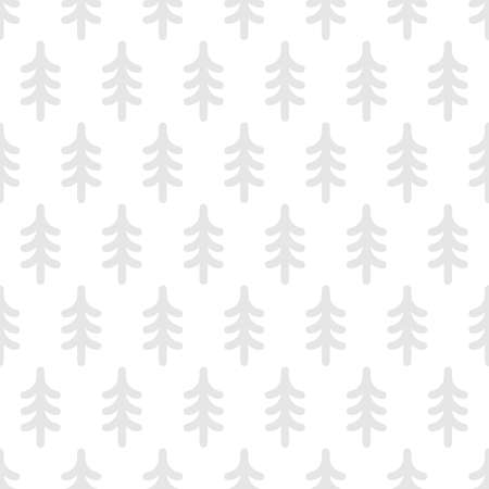 Cute monochrome seamless pattern with fir trees