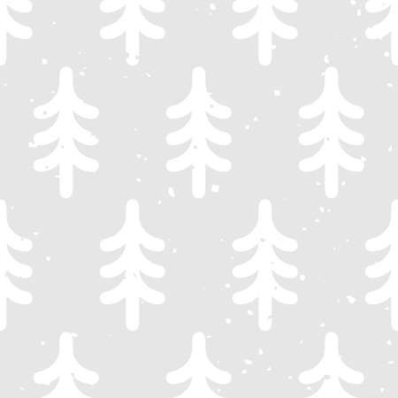 Cute monochrome seamless pattern with fir trees and vintage texture 일러스트