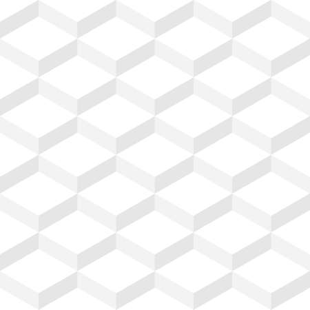 Zig zag seamless pattern. White cubes background with 3d effect
