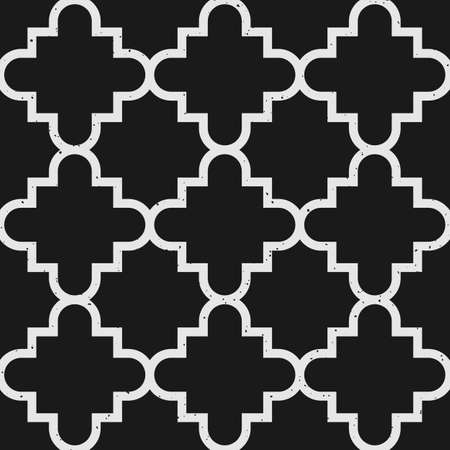 Geometric seamless pattern with tiles and removable vintage texture in black and white