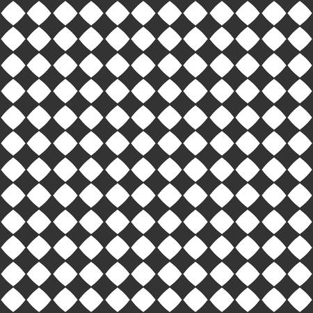 Abstract checkered seamless pattern with black diamonds on white background  イラスト・ベクター素材