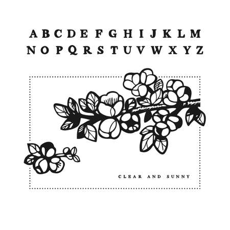 Hand-drawn serif font in uppercase with cherry blossoms illustration
