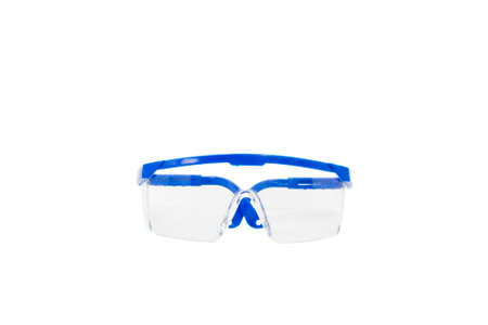 protective: Blue Plastic Protective Work Glasses Isolated on a White Background.