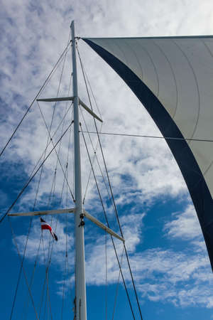 sail and rigging yacht against the sky in the Dominican Republic