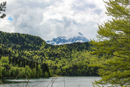 view of the Alpsee lake near the Neuschwanstein castle in Bavaria