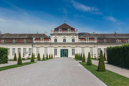 The Orangery, lower Belvedere Palace gardens, Wien, Vienna, Austria.   Belvedere Palace is a stunning example of architecture as art from the flamboyant Baroque period in Europe. Redakční