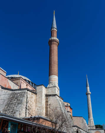 The high tower of the minaret of a mosque in Istanbul, Turkey Stok Fotoğraf