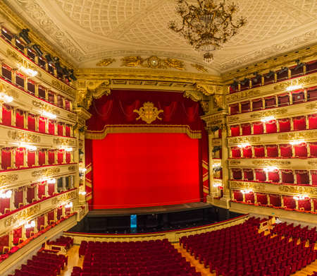 View of the auditorium and the stage of the theater La Scala in Milan, Italy Editorial