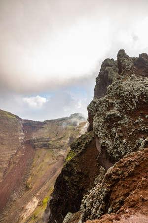 Fascinating and dangerous journey around the edge of the volcano Mount Vesuvius, Italy.