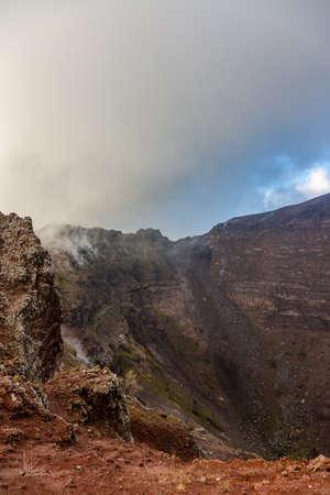 Fascinating and dangerous journey around the edge of the volcano Mount Vesuvius, Italy