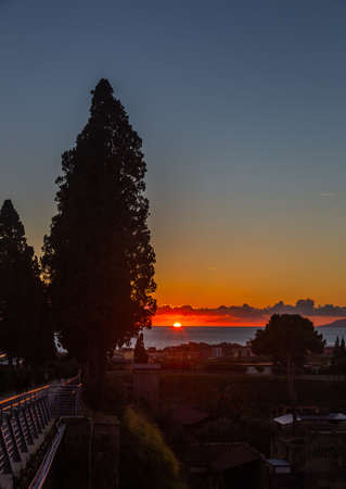 Sunset on the Mediterranean Sea in the town of Ercolano at the foot of the volcano Vesuvius, Italy Stok Fotoğraf