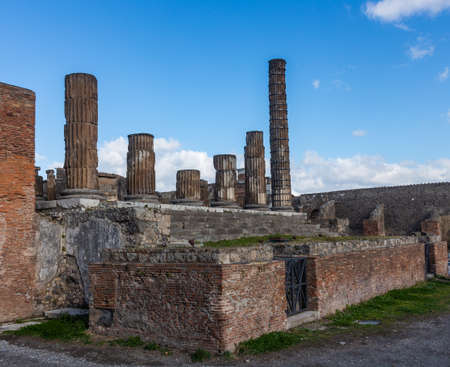 A fascinating journey through the ruins of the ancient city of Pompeii located at the foot of the volcano Vesuvius, Italy