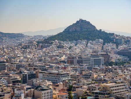 Panoramic view of Athens and Mount Lycabettus from the Acropolis of Athens, Greece