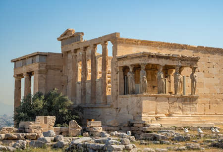 Erechtheion - an ancient Greek temple with a portico and six caryatids, built in honor of Athens and Poseidon, Greece