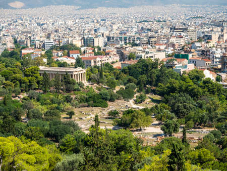 View of the Athenian Agora and the Temple of Hephaestus from the Acropolis, Greece