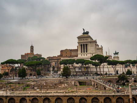View of the forum of Trajan, the portico of the Quadriga and the monument to Victor Emmanuel II in Rome, Italy