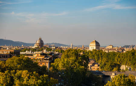 Beautiful view of the rooftops of Rome from the side of the Coliseum in Rome, Italy Banco de Imagens