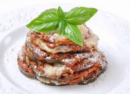 nutriment: Eggplant parmigiana Stock Photo