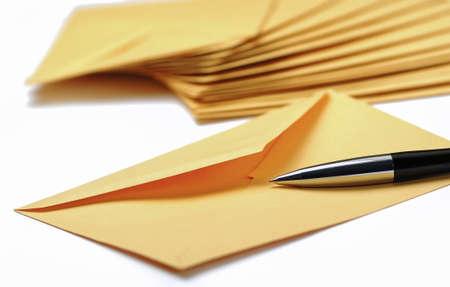 Traditional envelopes on white background