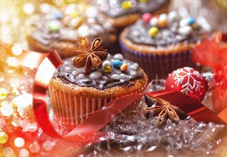 christmas cupcakes: Christmas cupcakes with decorations Stock Photo