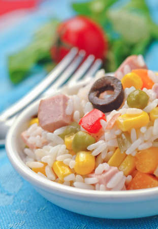 a portion: Rice salad portion