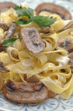 fettuccine: Fettuccine with creamy mushroom sauce