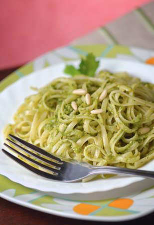 linguine pasta: Linguine pasta with basil pesto sauce