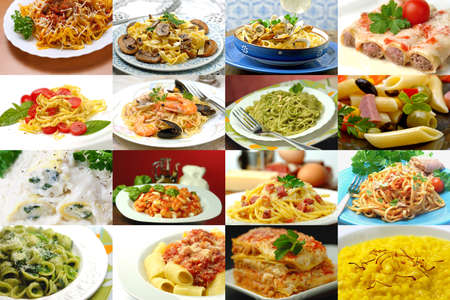 grooved: Different italian pasta collage