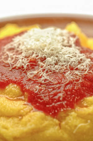raped: Closeup of italian polenta with grated Parmesan