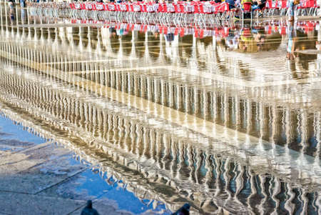 st  marks square: Venice Italy, reflection on the water During high tide Stock Photo