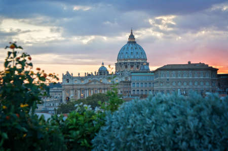 basilica: View of St Peters basilica dome with copy space