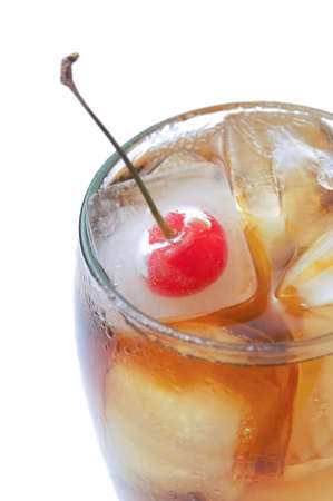 carbonation: Cola glass on white background