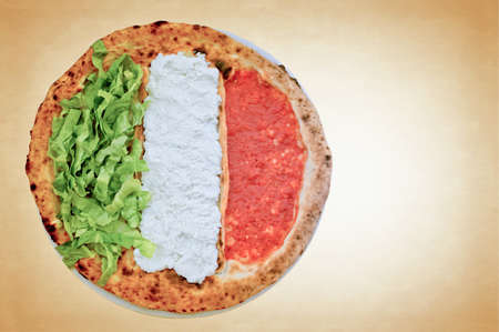 culinary tourism: Colorful pizza with copy space