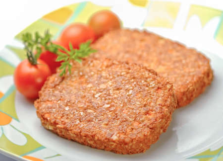 vegetarian hamburger: Soy burgers on a plate