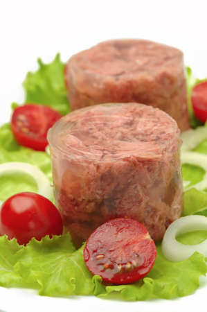 canned meat: Canned meat with salad and tomatoes Stock Photo