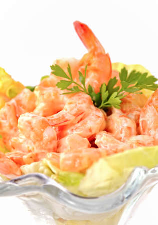 shrimp cocktail: Closeup shrimp cocktail in pink sauce isolated Stock Photo