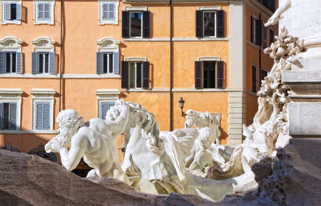 in particular: Particular of the Trevi fountain - Rome Italy
